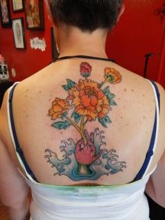 Custom Flower Back Tattoo