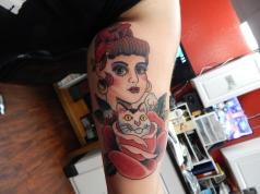 Woman, Cat, Rose Tattoo